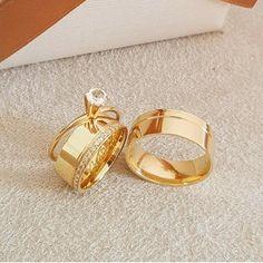 Diamond Wedding Yellow Gold Over Mens Women Trio Bridal Engagement Ring Set Gold Wedding Rings, Wedding Jewelry, Wedding Bands, Gold Rings, Bridal Ring Sets, Bridal Rings, Engagement Ring Settings, Engagement Rings, Ring Designs