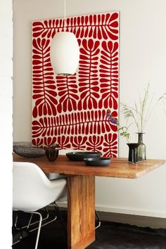 """One of the designer's favorite pieces of art is by Mitjili Napurrula, a stunning red and white canvas with """"amazing depth and rich red hues,"""" Ellis says. She and her husband bought it on their first wedding anniversary. Painting Inspiration, Design Inspiration, Red Pictures, Wall Decor, Room Decor, Aboriginal Art, Diy Art, Art Pieces, Canvas Art"""