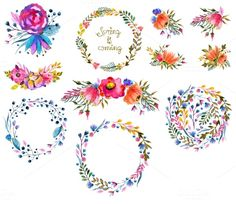 Pretty Watercolor Clip Art with Clip Art Wreaths and Floral Bunches. Pretty! Love the vivid colors