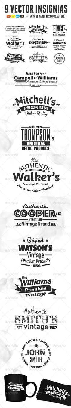 Buy 9 Vintage Insignias by on GraphicRiver. Nine original premium quality vintage insignias. AI, EPS, PSD, PNG and JPG files included. The warped text is editab. 404 Pages, Photoshop Plugins, Illustrator Cs6, Badge Logo, Website Layout, Vintage Branding, Cool Websites, Logo Templates, Are You Happy