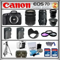 Canon EOS 7D 18MP - Canon EF-S 18-135 f/3.5-5.6 IS - Canon EF 70-300mm f/4-5.6 IS USM - Wide Angle and 2x Telephoto Zoom Lens - 2x 32GB Memory Card - Card Reader - 2 Batteries - Tulip Lens Hood - 3 Piece Lens Filter Kit - Carrying Case - Screen Protector - Lens Cleaning Kit - Full Size Tripod by Canon. $2674.95. Canon EOS 7D  With a host of features designed to enhance every facet of the photographic process, from still images to video, the EOS 7D represents an advanced cla...