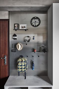 37 Astonishing Pegboard Design Ideas For All Your Needs To Try Asap - Pegboard is a great material for keeping tools, accessories, gadgets and other supplies handy and well-organized. Because you can customize a pegboard. Industrial Design Furniture, Vintage Industrial Furniture, Industrial Interiors, Furniture Design, Furniture Nyc, Industrial Bedroom Decor, Furniture Cleaning, Industrial Bathroom, Furniture Market