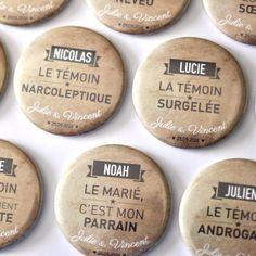 Badges & magnets Mariage - Bulles de neige
