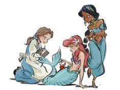 belle beauty and the beast ariel the little mermaid and jasmine aladdin Disney Pixar, Film Disney, Arte Disney, Disney Memes, Disney And Dreamworks, Disney Cartoons, Disney Animation, Disney Magic, Disney Artwork