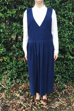 Vintage 90's Navy Blue Corduroy Jumper Dress  by rediscoveredmuse