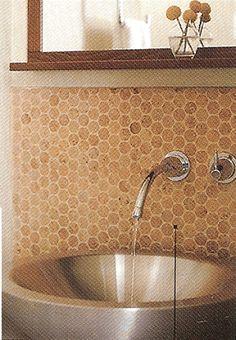 A nice example of a metal vessel sink. Cork Flooring, Plank Flooring, Floors, Backsplash Wallpaper, Kitchen Backsplash, Cork Tiles, Stitch Fit, Shower Surround, Bathroom Makeovers