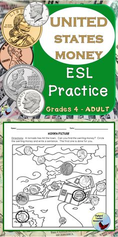Use these United States Money Activities and ESL worksheets for your ESL lessons. Teach your English Language Newcomers money vocabulary and money concepts. Teaching English Grammar, English Language Learners, English Vocabulary, Esl Lessons, English Lessons, Learn English, Money Activities, Grammar Activities, English Writing Exercises