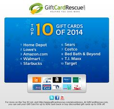 The Top 10 Most Wanted Gift Cards of 2014. #top10giftcards #holidaygiftideas #2014gifttrends