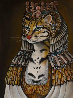 "Items similar to ""Cleocatra"" Egyptian Cat Art Print by Cici Andersen on Etsy Egyptian Women, Egyptian Cats, Cat Art Print, Black Art, Fairy Tales, Concept Art, Quilts, Art Prints, History"