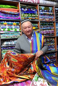 Fabric shop in Tashkent, Uzbekistan. Tashkent is the capital city of Uzbekistan. It is an ancient city on the Great Silk Road from China to Europe. (V)