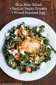Kale Salad with Feta, Garlic Panko Crumbs and Fried Slow Poached Egg Recipe