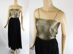 Mary Ann Restivo Vintage Formal Gold Lame Top by alleycatsvintage