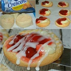Mini Cherry Cheese Danishes Pillsbury cherry cheese danish are so delicious and easy to make. Köstliche Desserts, Best Dessert Recipes, Delicious Desserts, Yummy Food, Health Desserts, Plated Desserts, Do It Yourself Food, Crescent Roll Recipes, Cherry Danish Recipe Crescent Rolls