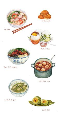 Food painting Vietnamese food illustration on Behance Vietnamese food illustration on Behance Vietnamese Recipes, Vietnamese Food, Korean Food, Food Sketch, Watercolor Food, Watercolor Wallpaper, Food Painting, Food Drawing, Best Dishes