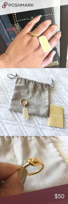 Authentic Michael Kors Ring Authentic! Lovely Michael Kors ring 💕 Size 8. In excellent, like new condition. Pouch, booklet and tag included. NO TRADE ❌ Michael Kors Jewelry Rings