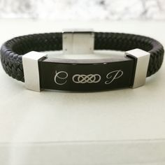 Shop edgy, yet classic engraved leather bracelets for men, women and children. Modern personalized leather bracelets that fit a variety of style choices! Engraved Leather Bracelets, Engraved Jewelry, Engraved Necklace, Engraved Wedding Gifts, Personalized Wedding Gifts, Customized Gifts, Mommy Jewelry, Meaningful Jewelry, Silver Rings With Stones