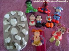 moldes de silicone Homemade Polymer Clay, Polymer Clay Crafts, Fondant Animals, Polymer Clay Animals, Cute Clay, Clay Ornaments, Pasta Flexible, Candy Party, Biscuits