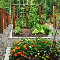 Potager Design - love the ceder pillars that both beautiful and provide the support for vine trellis