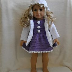Instant Download - PDF Crochet Pattern - Dress, cardigan and hat to American Girl Doll or similar 18 inch Doll
