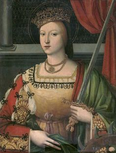 Domingo Carvalho - Catherine of Austria, Queen of Portugal, as Saint Catherine, Oil on Canvas St Catherine Of Alexandria, Catherine Of Aragon, Renaissance Gown, Renaissance Clothing, Medieval Dress, Medieval Art, Renaissance And Reformation, Spanish Netherlands, 16th Century Fashion