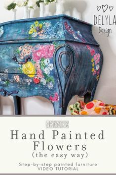 The easiest way to DIY your home decor -- with floral painted furniture. Using IOD Stamps, learn how to hand paint flowers for your next dresser makeover. Floral Painted Furniture, Paint Furniture, Furniture Makeover, Sticks Furniture, Bohemian Furniture, Decoupage Furniture, Refinished Furniture, Furniture Refinishing, Funky Furniture