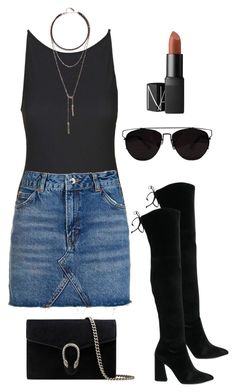 """""""#034"""" by taymartin ❤ liked on Polyvore featuring Topshop, LULUS, Stuart Weitzman, Gucci and NARS Cosmetics"""