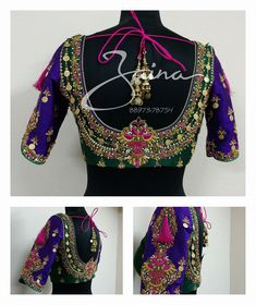 Stunning bridal designer blouse with floret lata design hand embroidery thread and kasu work. 07 February 2018