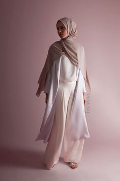INAYAH | Daily smart style credentials: White Front Pleat #Palazzos + Off White Belted #Coat + White Crepe Top + Light Mushroom Soft Crepe #Hijab - www.inayah.co