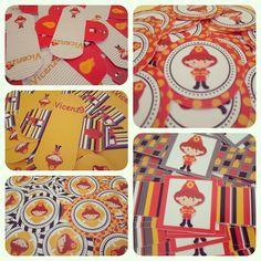 Forminhas, tags, adesivos, rótulos p/ garrafinhas no tema Bombeiro Vermelho e Amarelo.