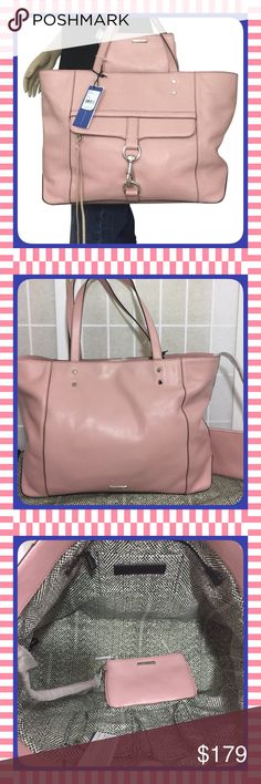 "NWT Rebecca Minkoff Bowery Pink Tote $325 BRAND NEW WITH TAGS! MSRP: $325  The Rebecca Minkoff Bowery Tote is SOLD OUT ON ALL SITES!  Approximate measurements:  19"" (L) x 11.25"" (H) 9"" handle drop  * Matching Removable Small Purse  * Silver Hardware * One exterior zipper pocket with clasp closure * Magentic snap closure * 1 zipper pocket * 3 interior slip pockets * Matching Dust bag  Note: Small ""transfer"" mark on strap. Hard to see, in fact, I almost missed it. Please see photo 4. Rebecca…"