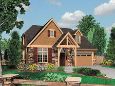 Empty Nester House Plans & Home Designs Cottage House Plans, Dream House Plans, House Floor Plans, Dream Houses, Craftsman Exterior, Craftsman Style House Plans, Custom Home Designs, Custom Homes, Cottage Style Homes