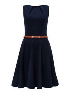 Closet Flared belted dress Navy - House of Fraser