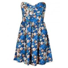 Blue Floral Boob Tube Flare Dress $ 23.13. Love this for the wedding in Sep.