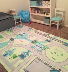 Aqua Gray and Green Cars Playmat Roads Play by SweetPeaPetiteShop