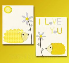 Yellow and grey Nursery Art Print Set, 8x10,Kids Room Decor, Baby / Children Wall Art - Hedgehog nursery, Flowers, I love You, Quote