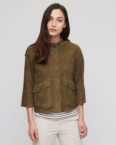 This takes on the 70's suede trend, but has a modern twist. It's gorgeous - Suede Utility Jacket - Jigsaw