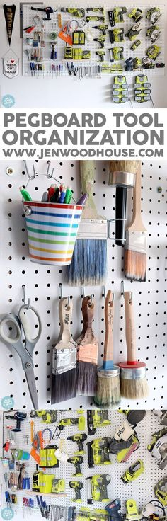 How to organize the tools in your garage using pegboard. Via Jen Woodhou. How to organize the tools in your garage using pegboard. Via Jen Woodhouse Garage Tools, Diy Garage, Garage Storage, Garage Workshop, Pegboard Garage, Workshop Storage, Hang Pegboard, Organized Garage, Small Garage