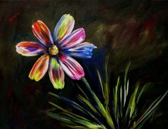 Original Acrylic Painting on Gallery Wrapped Canvas- Cosmo and Colorful 11 in. x 14 in.