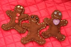"""Print """"gingerbread man shape"""" to make a pattern, cut them out, use blunt needle to sew face and buttons first, then sew back and front together, stuff with cotton balls before sew last few stitches"""