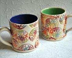 Rainbow Mug- Handbuilt, Block-printed, colorful floral coffee mug in bright colors- cobalt blue interior
