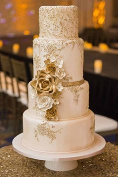 gold piping wedding cake - Google Search                              …
