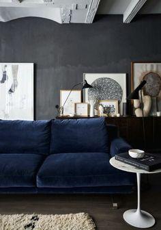 Canapé bleu nuit Blog Atelier rue verte