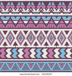 Vector Seamless Tribal Pattern. Geometrical Ethnic Print Ornament with Triangles, Zigzag and Stripes. Rough Edges Style Shapes - stock vector