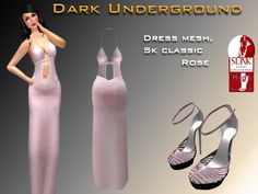 Rose formal long dress with sizes L, M, S, XS, XL. Including your alpha  Rose high heels sandals  Here I leave a link to use slink feet high https://marketplace.secondlife.com/p/Slink-AvEnhance-Feet-Female-High/5573231