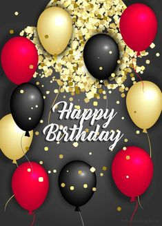 Happy birthday golden red and black balloons image High quality happy birthday images to share with your loved ones.