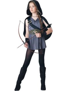 Girls Hooded Huntress Costume - Party City I WANT THIS COSTUME FOR MY ARTEMIS COSTUME, BUT ITS ONLINE ONLY, AND HALLOWEEN IS 10 DAYS AWAY!!!!! AAAAAAAAAH!