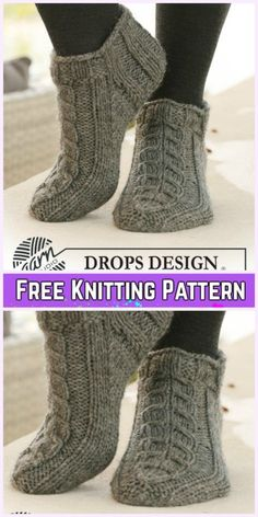 Knit Adult Slippers & Boots Free Patterns Written Tutorials Short Cable Sock Slippers Free Knitting Pattern - Adult Free Patterns Record of Knitting Yarn spinni. Loom Knitting, Knitting Socks, Knitting Stitches, Knitting Patterns Free, Free Knitting, Baby Knitting, Knit Patterns, Knit Socks, Knitting Ideas
