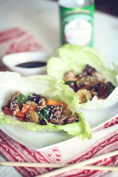 Skinny Teriyaki Chicken Lettuce Wraps!