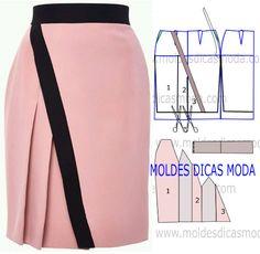 MOLDE DE SAIA ROSA -36 - Moldes Moda por Medida