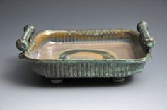 Lichen Green and Rust Ceramic Serving Tray
